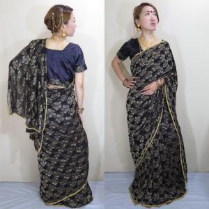 インド 気品溢れる黒ドレス サリー 民族衣装 ベリーダンス コスチューム◆黒のネット素材に金刺繍やビーズ、スパンコール飾りが知的で優雅なイメージ sar452|mifashion