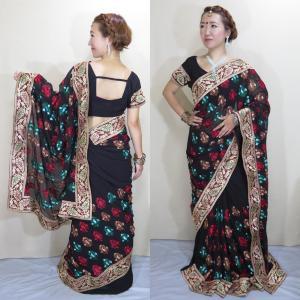 sar453 インド サリー コスチューム ダンス 黒のシフォン・ジョーゼットに美しい刺繍 豪華な金糸カタンが縫い付けられた華やかドレス|mifashion