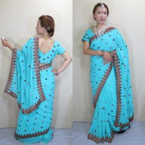sar454 インド サリー コスチューム ダンスエメラルド・グリーンのシフォン生地 光沢糸の細かな風車模様刺繍 爽やかなドレス|mifashion