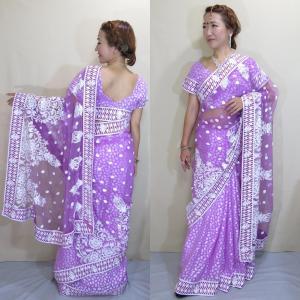 インド サリー 民族衣装 コスチューム ダンス ドレス バイオレットカラー 柔らかネット生地に白い刺繍とスパンコールの花模様 sar455|mifashion