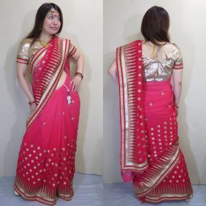 sar457 インド サリー 民族衣装 ベリーダンス コスチューム グラデーションが優美なシフォン生地全体に金糸の葉模様とパッルのシェブロン柄がキラキラ華やか|mifashion