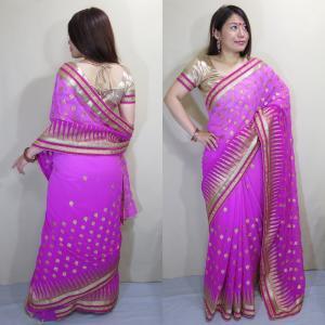 sar458 インド サリー 民族衣装 ベリーダンス コスチューム グラデーションが魅惑的なシフォン生地全体に金糸の葉模様とパッルのシェブロン柄がキラキラ華やか|mifashion