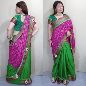 sar459 インド サリー 民族衣装 ボリウッド ダンス 衣装 コスチューム 濃桃色のワーラーナシー(Varanasi / バラナシ)・シルク・カタン|mifashion
