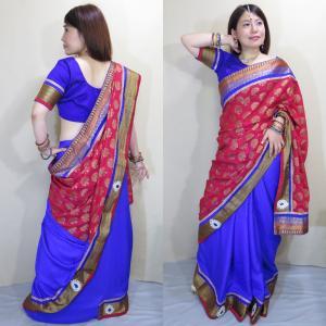 sar460 インド サリー 民族衣装 ボリウッド ダンス 衣装 コスチューム 瑠璃色とローズレッドのワーラーナシー(Varanasi / バラナシ)・シルク・カタン|mifashion