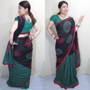 sar461 インド サリー 民族衣装 アジアン エスニック コスチューム 孔雀の羽根を広げたようなデザインの黒にアルポナ風の幾何学模様のサリー|mifashion
