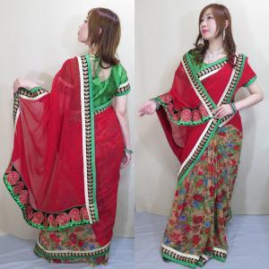 sar463 インドサリー ボリウッド イベント コスチューム 民族衣装 艶やかな赤を基調とした花柄シフォン 光沢糸のザリ刺繍連なる大輪のバラが情熱的|mifashion