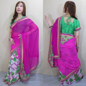 sar464 インドサリー ボリウッド ドレス コスチューム 民族衣装  優美なグリーンのトルコキキョウ風花柄 光沢糸のザリ刺繍と輝くストーン|mifashion