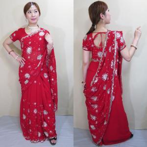 sar466 インド コスチューム イブニング・ドレス ロング ボリウッド ダンス シルバーの光沢糸刺繍が雪の結晶のようにキラキラと舞うゴージャスなサリー|mifashion