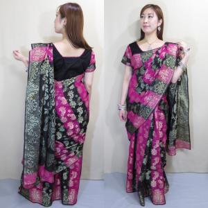 sar470 サリー インド民族衣装 パーティドレス レディース ロング イブニング 美しい光沢を放つシルク混コットンのジャムダニ・デザイン織り 半袖|mifashion