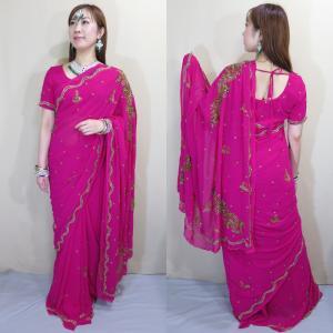 sar471 インド直輸入 サリー セットアップ パーティ 結婚式 ドレス 半袖 ロング 職人が技と時間をかけたビーズ&スパンコール刺繍が豪華|mifashion