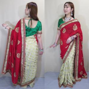 sar472 インド直輸入 サリー セットアップ パーティ 結婚式 ドレス 赤色ワーラーナシー(Varanasi / バラナシ)・シフォン・カタン|mifashion