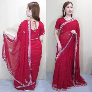 sar473 インド直輸入 サリー セットアップ パーティ 結婚式 ドレス 半袖 ロング 職人が技と時間をかけたビーズ刺繍とストーン飾りが豪華|mifashion