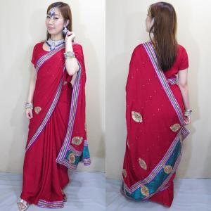 sar475 インド 民族衣装 コスチューム ボリウッド ベリーダンス 深紅色のシルクに輝くストーンと金のテープで彩られるエキゾチックな文様がパーティ・サリー|mifashion
