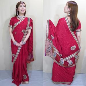sar476 インド 民族衣装 コスチューム ボリウッド ベリーダンス 深紅色のシルクに輝くストーンと金のテープで彩られるエキゾチックな文様がパーティ・サリー|mifashion