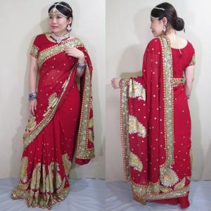 sar478 インド 民族衣装 サリー ベリーダンス コスチューム 可愛い赤の柔らかなシフォンにびっしりと散りばめられた金のスパンコールと刺繍が豪華なサリー|mifashion