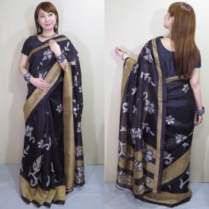 sar484 インド 民族衣装 サリー ベリーダンス コスチューム エキゾチックなエキゾチックな花模様が浮き出る金のサリー|mifashion