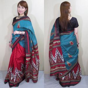 sar485 インド 民族衣装 サリー ベリーダンス コスチューム 光沢があるシルク混紡の緑と赤の生地にエキゾチックなペイズリー模様が浮き出るサリー|mifashion