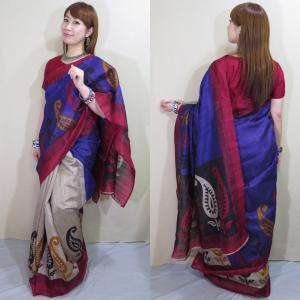 sar487 インド 民族衣装 サリー ベリーダンス コスチューム エキゾチックなペイズリー模様が浮き出るサリー|mifashion
