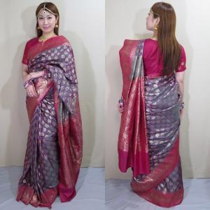 sar488 インド 民族衣装 サリー ベリーダンス コスチューム アラベスク模様が浮き出るヨーロピアン感覚のワーラーナシー(バラナシ)・シルク・カタン・サリー|mifashion