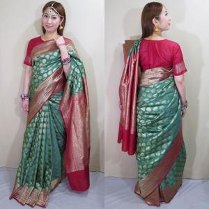sar489 インド 民族衣装 サリー ベリーダンス コスチューム アラベスク模様が浮き出るヨーロピアン感覚のワーラーナシー(バラナシ)・シルク・カタン・サリー|mifashion