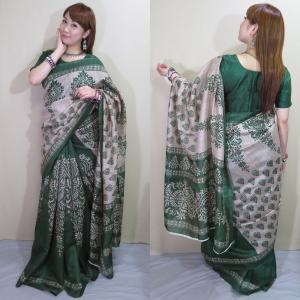 sar491 インド 民族衣装 サリー ベリーダンス コスチューム アラベスク模様が浮き出るヨーロピアン感覚のシンプル・サリー|mifashion