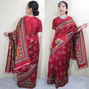 sar493 インド 民族衣装 サリー ベリーダンス コスチューム 赤が美しく光を反射して輝くエキゾチックなインド模様が魅力的なアンディ・シルク・サリー|mifashion