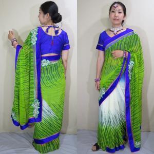 sar495 インド 民族衣装 サリー ベリーダンス コスチューム 柔らかい緑のシフォン生地に花の模様にラインストーンが散りばめられたゴージャスなサリー|mifashion