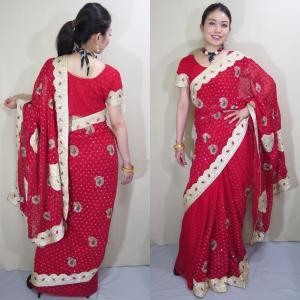 sar496 インド 民族衣装 サリー ベリーダンス コスチューム 赤のシフォン生地にキラキラと輝くラインストーンがびっしりと散りばめられたフォーマル・サリー|mifashion