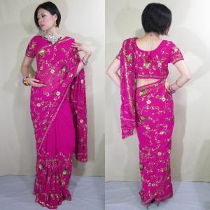 sar497 インド直輸入 サリー セットアップ パーティ 結婚式 ドレス 赤紫シフォン 半袖 ロング 職人が技と時間をかけたビーズ&スパンコール刺繍が豪華|mifashion