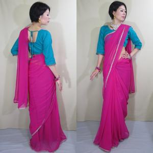 sar498 インド サリー チョリ 2点セット 民族衣装 通販 シンプルデザイン スモーキーなマゼンタ色が優美なシフォン ボリウッド ダンス コスチュームパーティ|mifashion