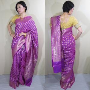 sar499 インド サリー 民族衣装 ボリウッド ベリーダンス コスチューム アラベスク模様 ヨーロピアン感覚のワーラーナシー(バラナシ)・シルク・カタン|mifashion
