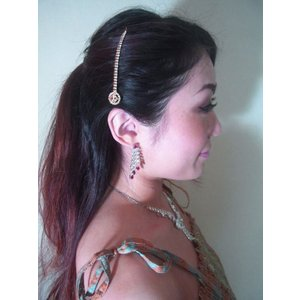 ティッカ 髪飾り インド民族衣装 ベリーダンス コスチューム  オレンジとクリスタルのラインストーンがキラキラと揺れるヘアアクセ tik031|mifashion