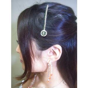 ティッカ 髪飾り インド民族衣装 ベリーダンス コスチューム  緑とクリスタルのラインストーンがキラキラと揺れるヘアアクセ tik032|mifashion