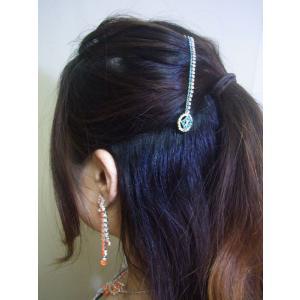 ティッカ 髪飾り インド民族衣装 ベリーダンス コスチューム 水色とクリスタルのラインストーンがキラキラと揺れるヘアアクセ tik034|mifashion