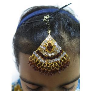 tik059 インド ティカ ヘアアクセ ボリウッド ベリーダンス ゴールドチェーン・クリスタルラインストーン・ブラウンビーズ|mifashion