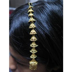 tik061 インド ティッカ ティカ ヘアアクセサリー 髪飾り ボリウッド ベリーダンス ゴールドのベル型チェーン 個性的|mifashion