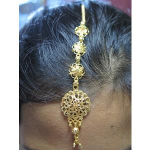 tik062 インド ティッカ ティカ ヘアアクセサリー 髪飾り ボリウッド ベリーダンス ゴールドの4連フラワー・モチーフ・チェーン|mifashion