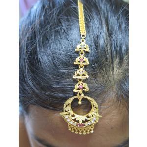 tik063 インド ティッカ ティカ ヘアアクセサリー 髪飾り★ボリウッド ベリーダンス ゴールド・カラー ラインストーン パーティ ウェディング 華やかコーデ|mifashion