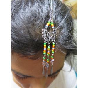 tik068 インド ティッカ ティカ ヘアアクセサリー 髪飾り★ボリウッド ベリーダンス ゴールド・カラー ラインストーン ビジュー|mifashion