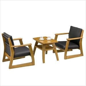 ラルゴ3点セット チェアー×2脚&テーブル×1台 重厚感のある木の家具 ニレ無垢材 ソフトレザー|mifuji