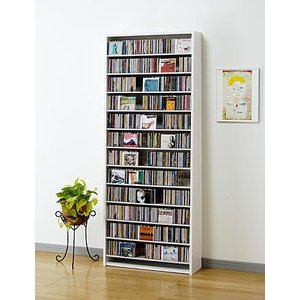 CD 大量 収納 924枚 CDストッカー CS924 W(ホワイト) DVD も収納 壁面 薄型 収納