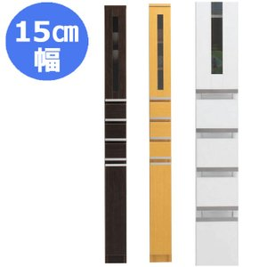 隙間収納 15cm NEWスペースボード 15C(ガラス扉) ホワイト・メープル・ダーク 15cmのスペースを活用 すきま家具 日本製 完成品|mifuji