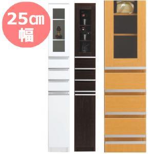 隙間収納 25cm NEWスペースボード 25C(ガラス扉) ホワイト・メープル・ダーク 25cmのスペースを活用 すきま家具 日本製 完成品|mifuji