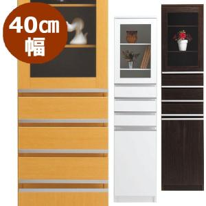 隙間収納 40cm NEWスペースボード 40C(ガラス扉) ホワイト・メープル・ダーク 40cmのスペースを活用 すきま家具 日本製 完成品|mifuji