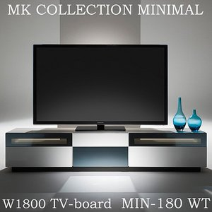【2月下旬入荷予定】MKマエダ ミニマル 180cm幅 テレビボード MIN-180 WT TVボード 鏡面ホワイト モダン おしゃれ|mifuji