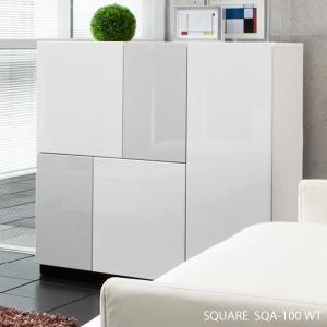 開梱設置便 スクエア キャビネット SQA-100 WT ホワイト W100cm MKマエダ リビングボード 鏡面塗装 モダン おしゃれ SQUAR|mifuji