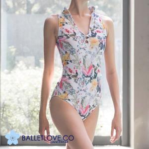 バレエ レオタード 大人 BALLETLOVE 胸元ボタン付き 花柄