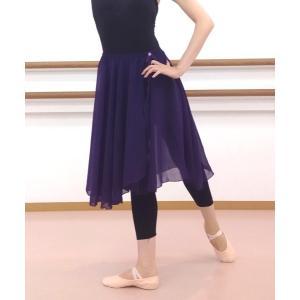 バレエ スカート ロング60cm丈 パープル ウエストゴム mignonballet
