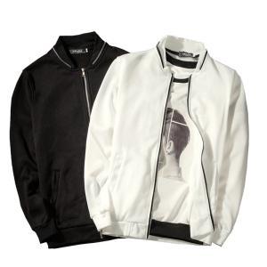 MA-1 ミリタリージャケット ジャケット 長袖 メンズ カジュアル ジップアップ シンプル 羽織り 白 黒 ホワイト ブラック フードなし|mignonlindo