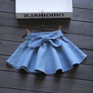 スカート フレアスカート リボン デニム キッズ ジュニア 子ども 女児 女の子 レディース ボトムス 無地 シンプル かわいい おしゃれ キュート|mignonlindo
